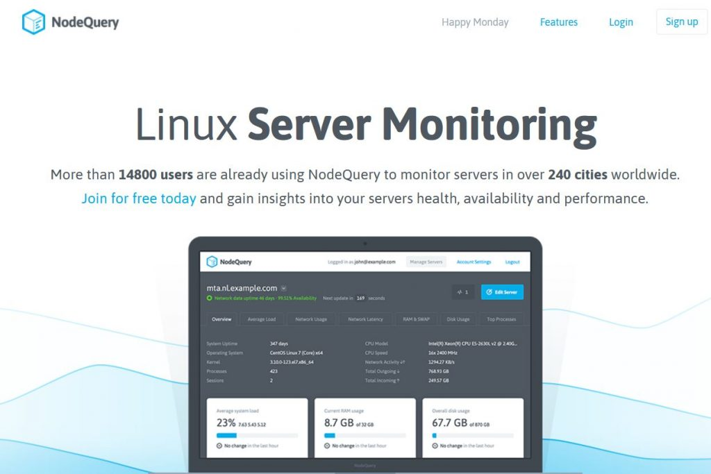 nodequery monitoring OS linux serveurs