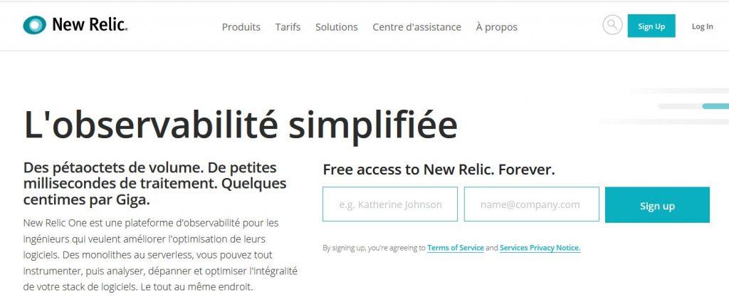 New Relic, monitoring de site web et applications multilingue